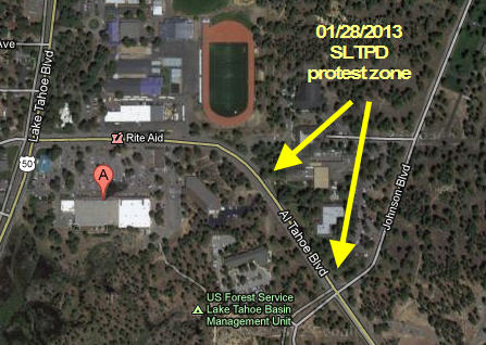south lake tahoe police protest zone